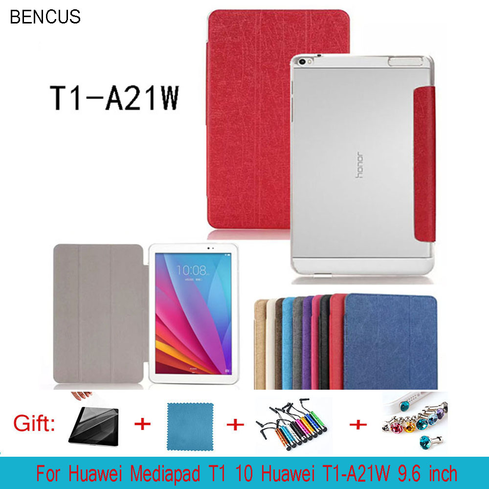 BENCUS For Huawei Mediapad T1 10 Huawei T1-A21W 9.6 inch tablet Cases Custer Ultra Slim 3 Fold Folio Stand PU Leather Case cover