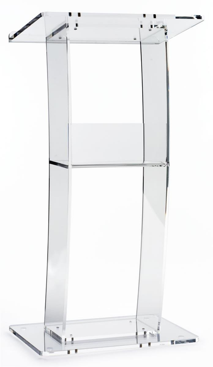 "Clear Lectern with Curved Pedestal 1/2 Inch Thick Acrylic Frame Built in Shelf Easy To Assemble Hardware Included  46"" H x14"" W