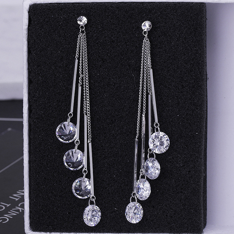 2019 new 925 silver Tassel Earrings Female Crystal from Swarovski New woman name earrings Twins micro set hot Fashion jewelry