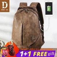 DIDE USB charging 15.6 inch Laptop Backpacks For School Bag Male Mochila Vintage Casual Leather Travel backpack Bag Men 2018