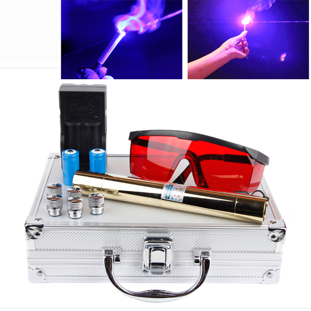 Most Powerful 500000mw 500w <font><b>450nm</b></font> <font><b>Blue</b></font> <font><b>Laser</b></font> <font><b>Pointers</b></font> Flashlight Burn Match Candle Lit Cigarette Wicked LAZER Torch Hunting image