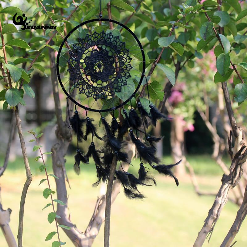 Big Natural Feather Black Color Lace Dreamcatcher Wind Chimes Hanging Decoration Dream Catcher Home Decor in Wind Chimes Hanging Decorations from Home Garden
