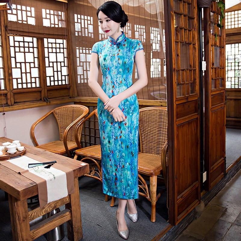 Новое поступление длинный тонкий Для женщин платье Чонсам китайские дамы Шелковый Qipao Новинка пикантные ручной работы и пуговицы платье с цветочным принтом плюс Размеры M-XXXL