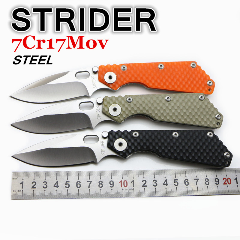 2016 NEW STRIDER folding knife 7Cr17Mov blade G10 steel handle camping outdoor life knife pocket EDC