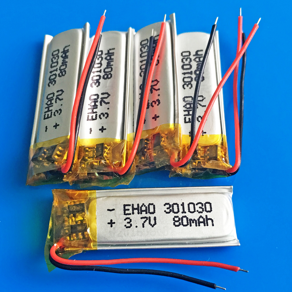 5pcs 3.7V <font><b>80mAh</b></font> 301030 lithium polymer <font><b>Lipo</b></font> rechargeable battery for MP3 GPS bluetooth headset video pen smart watch 3x10x30mm image