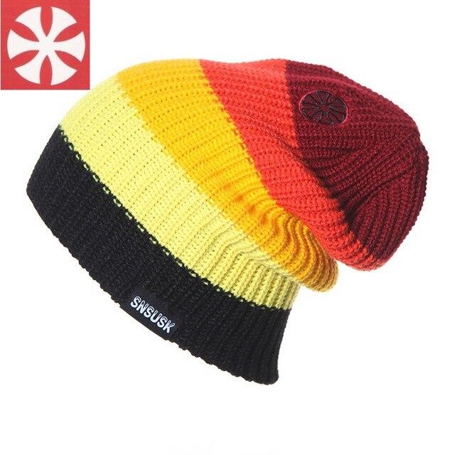 New Winter Men Woolen Beanie Ski Skating Cap Hip-Hop Cap Women Knitting Hat Stripe Warmer Hat