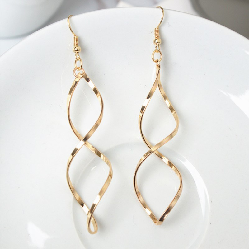 EK186 Fashion Simple Spiral Drop Earrings For Women Long Curved Wave Dangle Earrings Statement Wedding Party Jewelry Wholesale