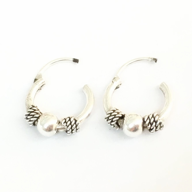 Mfnfyh Gypsy Tribal Round Circle Small Hoop Earrings Silver 925 Handmade Indian Vintage Thai Wrap Bead For Women In From