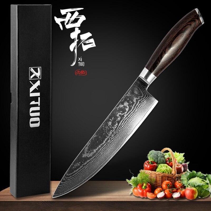 XITUO chef couteau 8 pouces utilitaire Filleting saumon petit couteau de cuisine japon VG10 acier 67 couche damas forte boîte à outils de cuisson