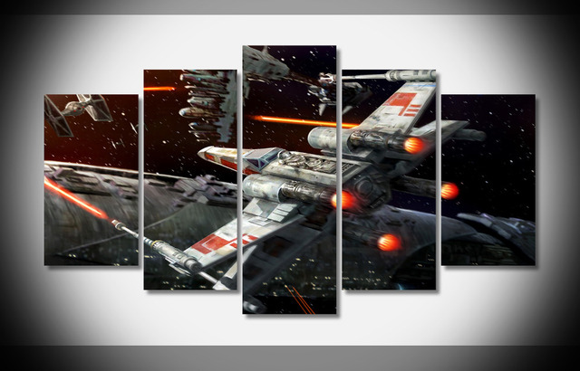 5 Panels Unframed Canvas Photo Prints Star Wars Outer E Wall Decorations Office Artwork Giclee Paintings