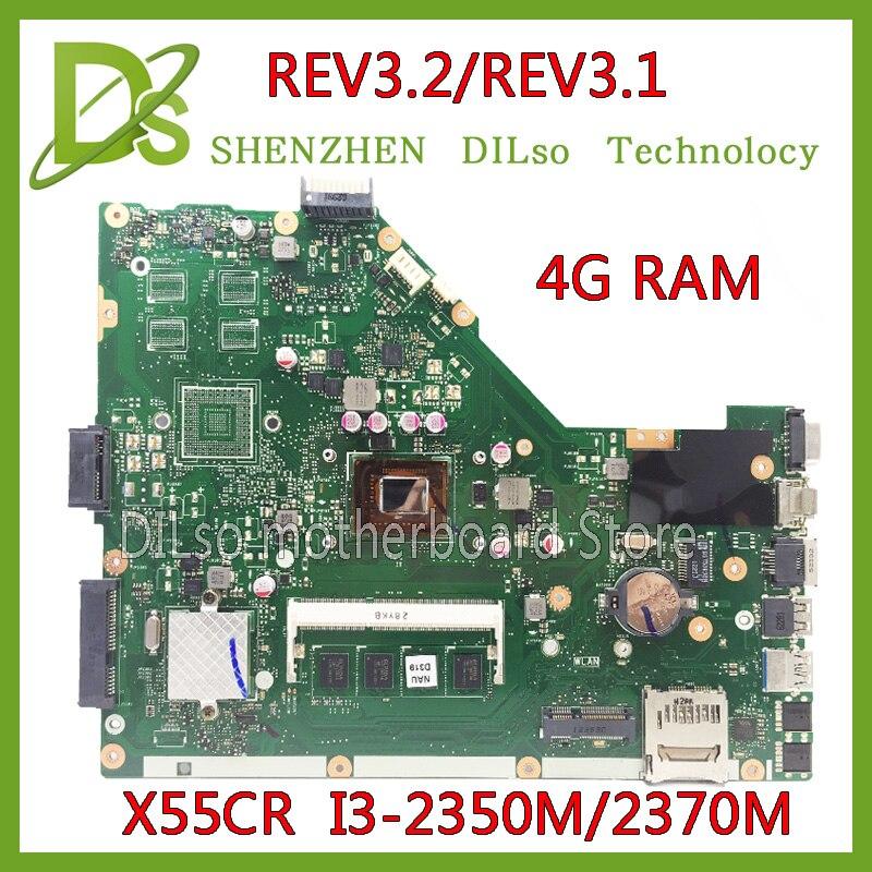 KEFU X55C For ASUS X55CR X55VD motherboard 4G RAM i3-2350m/2370m rev3.1/rev3.2 Test integrated original motherboard for asus x55vdr motherboard 4g ram i3 cpu rev3 1 100% tested integrated original new motherboard