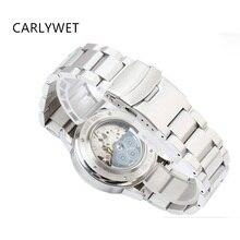CARLYWET 22mm Mujeres de LOS HOMBRES de Plata Pulsera de Acero Inoxidable Sólido Pulido de Implementación de Cierre Venda de Reloj de la Correa de La Correa Doble Empuje