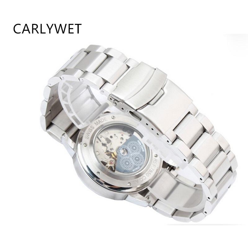 Prix pour Carlywet 22mm argent brossé solide en acier inoxydable déploiement fermoir pour samsung gear s3 smart watch bande lien bracelet classique