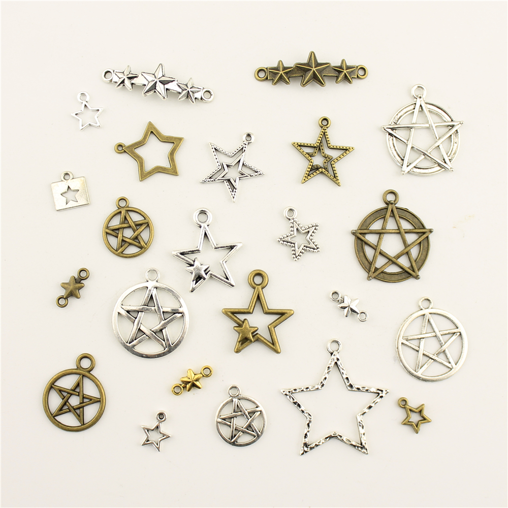 10 pçs jóias feminino oco cinco pontas estrela conexão charme diy jóias acessórios charme diy acessórios diy