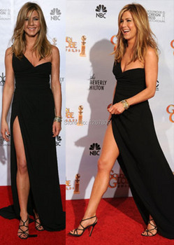 Jennifer Aniston Sexy Mermaid One-Shoulder Backless Pleat Long Red Carpet Golden Globe Evening Gowns Celebrity Dresses