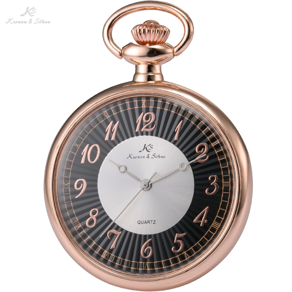 Mens pocket watches with chain images mens gold pocket watches gifts - Ks Luxury Retro Antique Rose Gold Stainless Steel 12 Hours Men Lady Jewelry Quartz Watches Fob