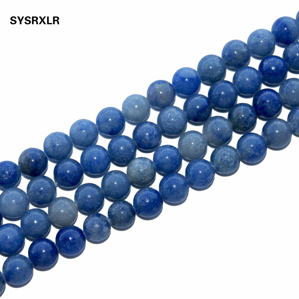 Wholesale Blue Aventurine Dumortierite Natural Stone Beads For Jewelry Making Diy Bracelet Necklace 4 6 8 10 12 MM Strand in Beads from Jewelry Accessories