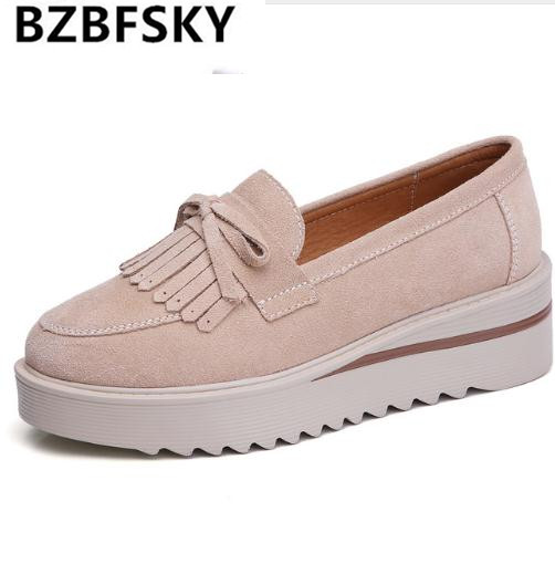 BZBFSKY 2018 Spring women flats shoes women tassel platform shoes   leather     suede   casual shoes slip on flats Creepers shoe