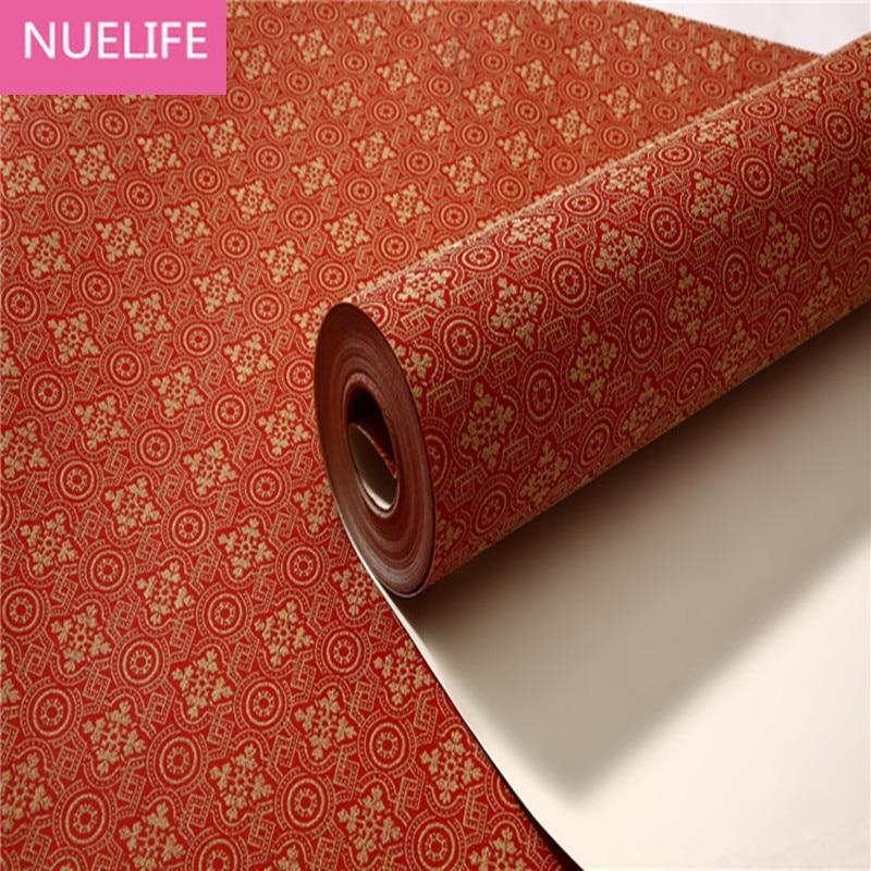 0.53x10 meters Chinese style red irregular pattern non-woven wallpaper living room bedroom wedding room restaurant wallpaper