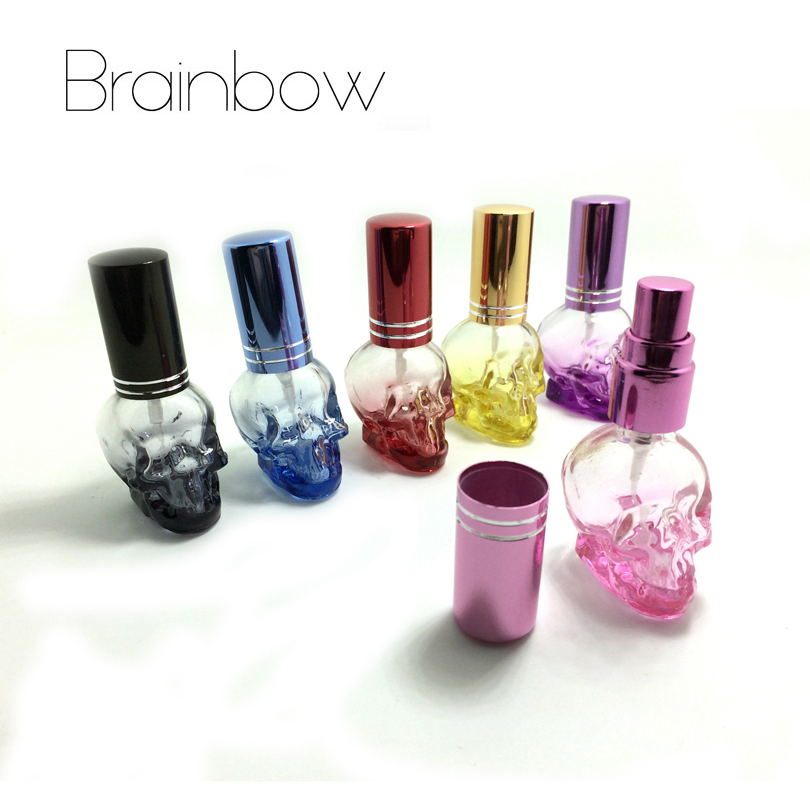 Brainbow 1pc 8ml 3D Skullcandy Perfume Bottle Mini Portable Travel Refillable Perfume Atomizer Bottle For Spray Scent Pump Case