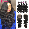 7A Grade Unprocessed Human Hair Weave Indian Body Wave With Closure 4 Bundles Indian Virgin Hair Body Wave With Closure
