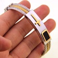 Gold/Sliver Tone Wire Cable Cross Charm Bracelets Bangles For Men Fashion Stainless Steel Men Jewelry