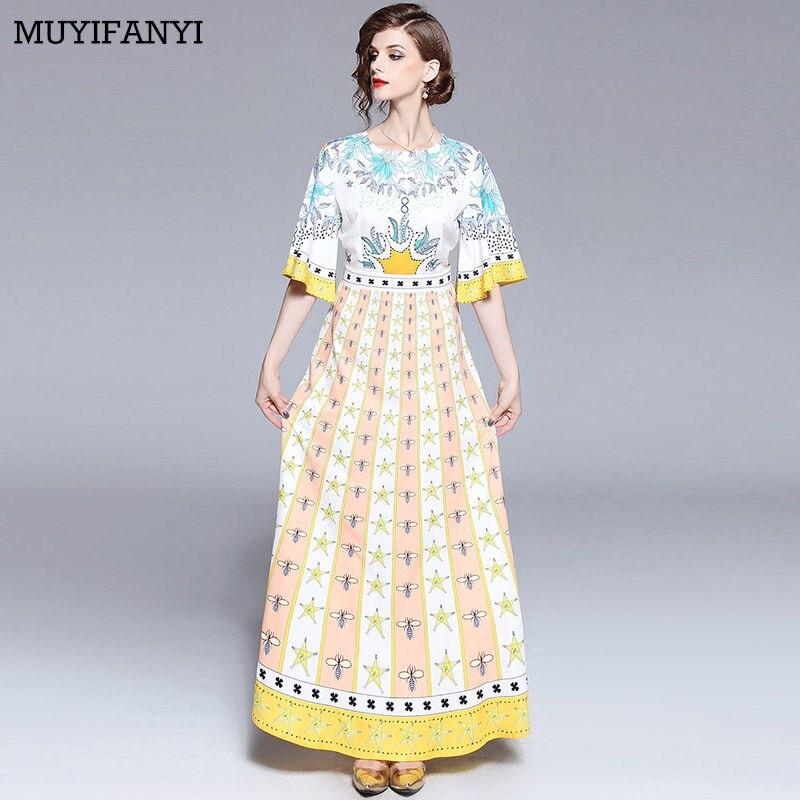 2018 hohe Qualität Designer Runway Kleid Elegante Vintage Ethnische Printed  Beiläufige Maxi Kleid Lang Robe Femme 17286d0a5e