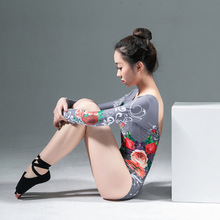 Ballet Leotards for Girls Dance Practice Clothes Printed Coveralls Bodysuit Girl Dancing S-XL Gray Red