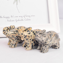 2 inch Natural Stone dalmatian jasper elephant figurines craft carved Mini animals statues for decoration healing crystals