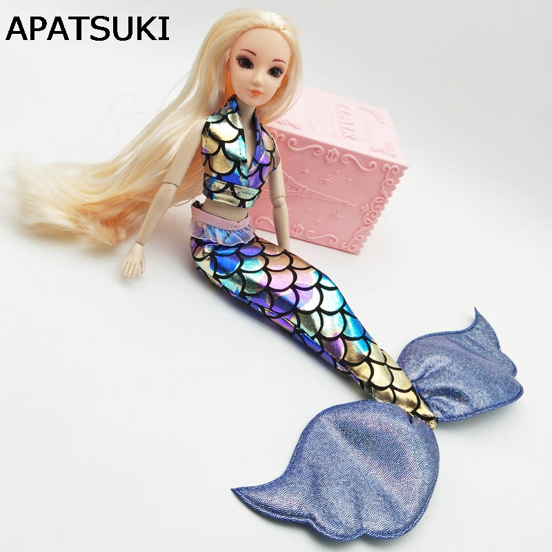 """Blue Mermaid Doll Dress For 11.5/"""" Doll Clothes Party Gown Bra /& Fishtail Skirt"""
