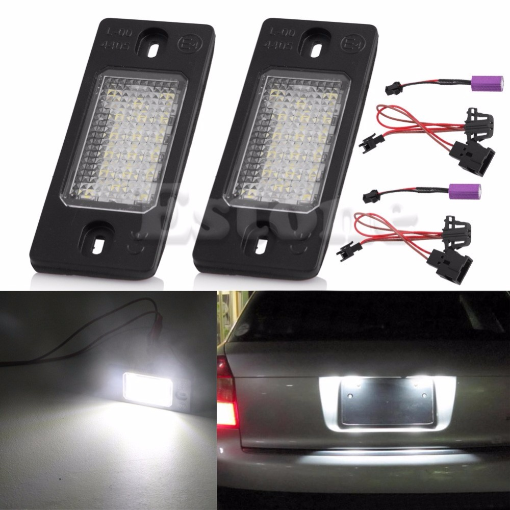 2pcs 18 led number license plate led light lamp for porsche cayenne vw touareg triple brightness auto tail light