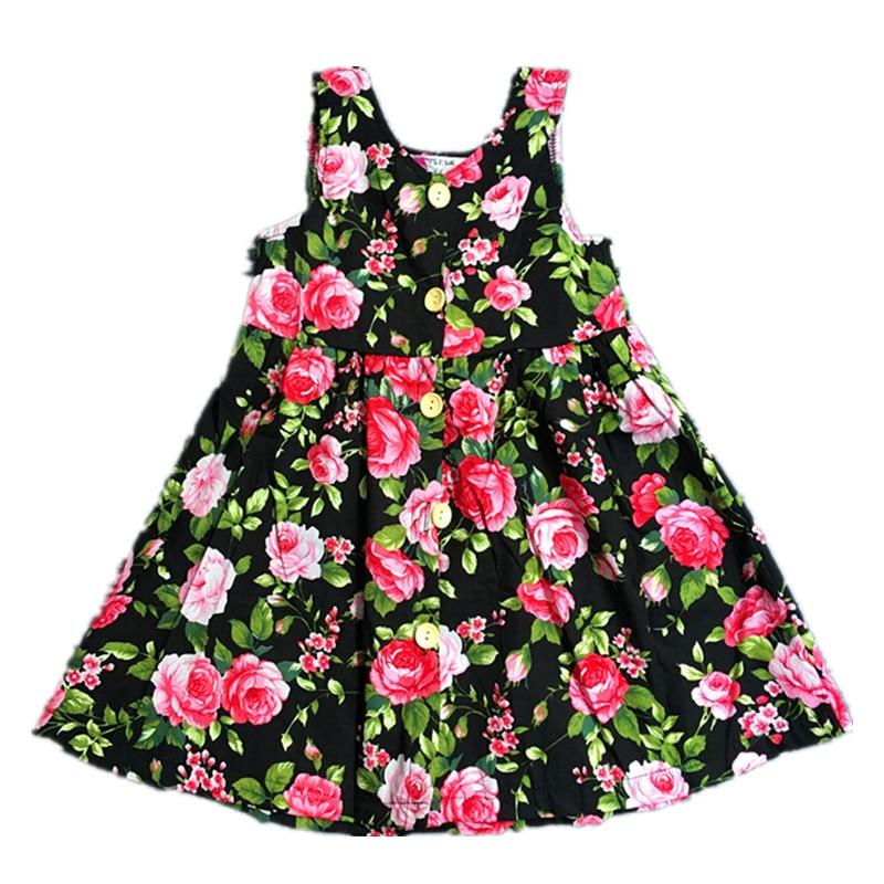 Floral Girls Dresses Summer Small Fresh Sleeveless A-line Dresses Girl Bohemian Style Fashion Baby Pirncess Dress robe fille
