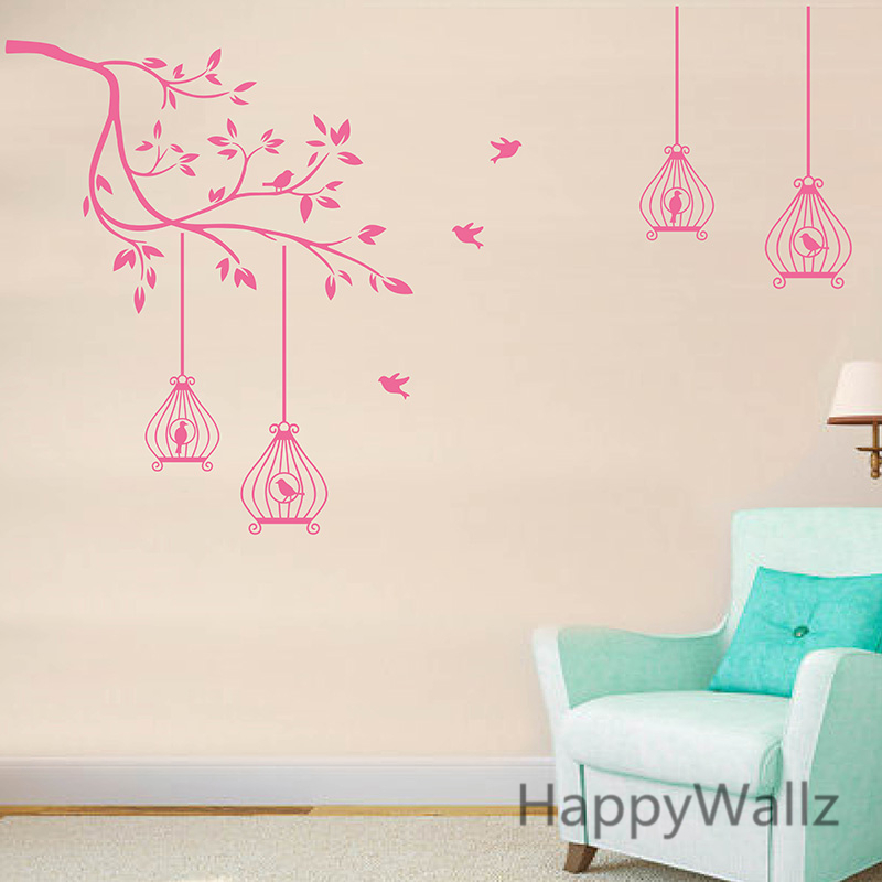Tree Branch Wall Stickers Birds Cages Branch Wall Decal DIY Decorative Branch Tree Wallpaper Hot Sale Free Shipping T40-in Wall Stickers from Home u0026 Garden ...  sc 1 st  AliExpress.com & Tree Branch Wall Stickers Birds Cages Branch Wall Decal DIY ...