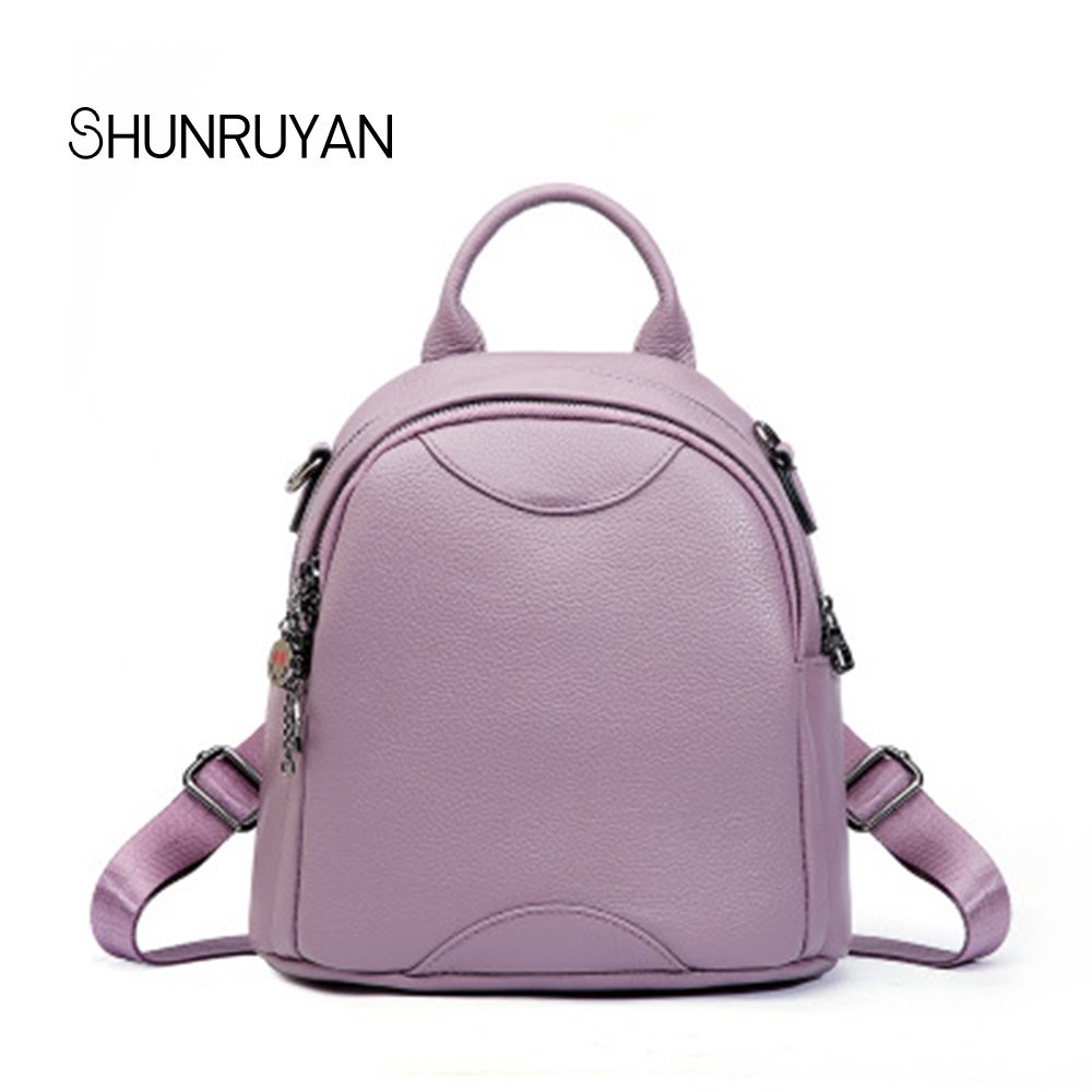 SHUNRUYAN New Brand Design Genuine Leather Lovely Women Bag Backpack School Bag Trend Fashion Teenager Package Shoulder Bag shunruyan 2018 brand design genuine leather women bag crossbody bag shoulder bag chain fashion party bag