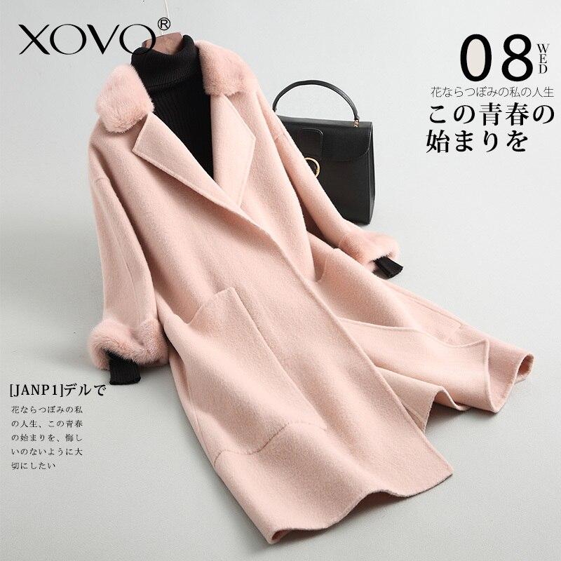 Abrigo de lana para mujer chaqueta jaqueta cuello puños visón doble cara lana abrigo femenino sección larga solapa Diseño estilo aristocrático