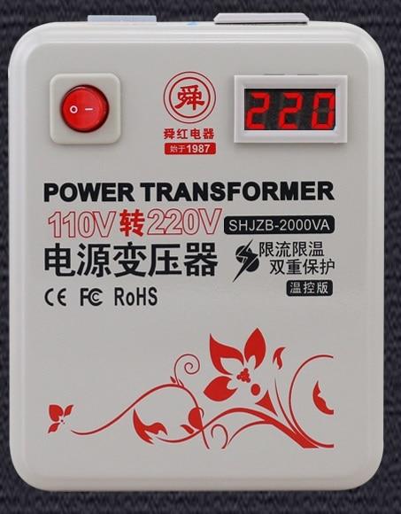 Livraison rapide SHJZB-2000VA 110 v à 220 v 2000 W compteur de contrôle de température abaisseur transformateur de convertisseur de tension convertit le cuivre