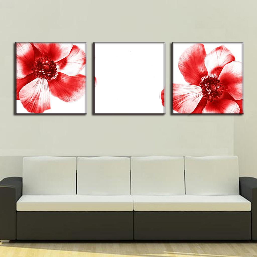 Aliexpress Buy 3 Pcsset Modern Wall Paintings Two Red Flowers