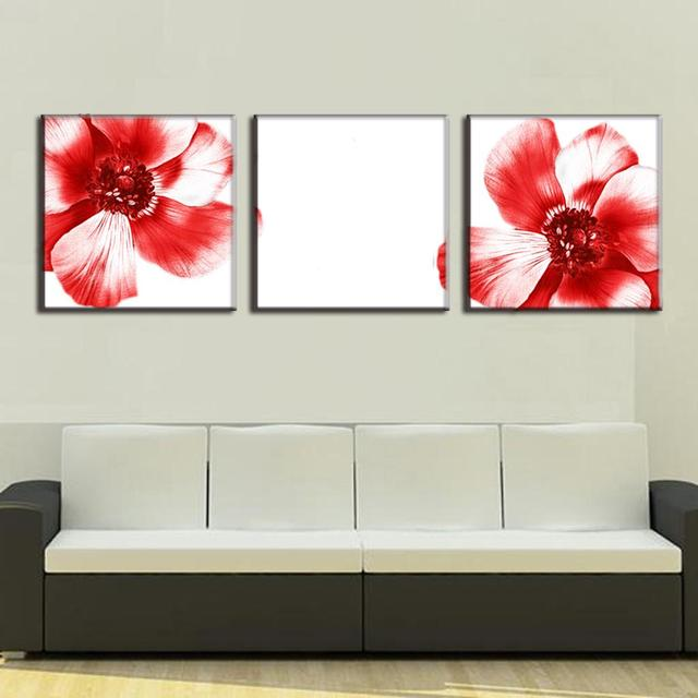 3 pcs set modern wall paintings two red flowers canvas prints art on canvas wall