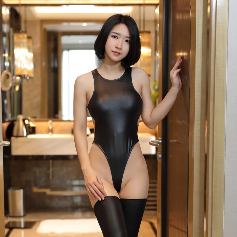 Thong Sleeveless Cosplay Swimsuit Leotard Catsuit Ultra Thin Body Suit Hot Sexy Women Sukumizu High Cut Backless See-through