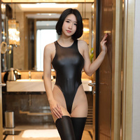 Thong Sleeveless Cosplay Swimsuit Leotard Catsuit Ultra Thin Body Suit Hot Sexy Women Sukumizu High Cut Backless See through