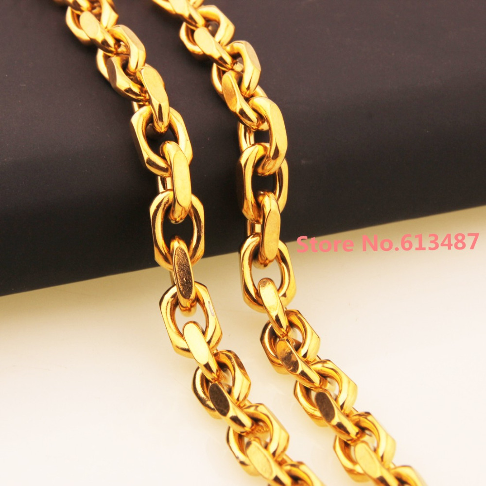 7-40inch Custom Size 8mm Wide 316L Stainless Women Mens Gold Rolo Link Chain Necklace/Bracelet Oval Chain Jewelry