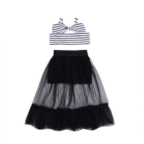 2Pcs Kids Baby Girl Striped Off Shoulder Crop Tops Summer Outfits Clothes Black Tutu Tulle Mesh Skirts Beach Clothing Set