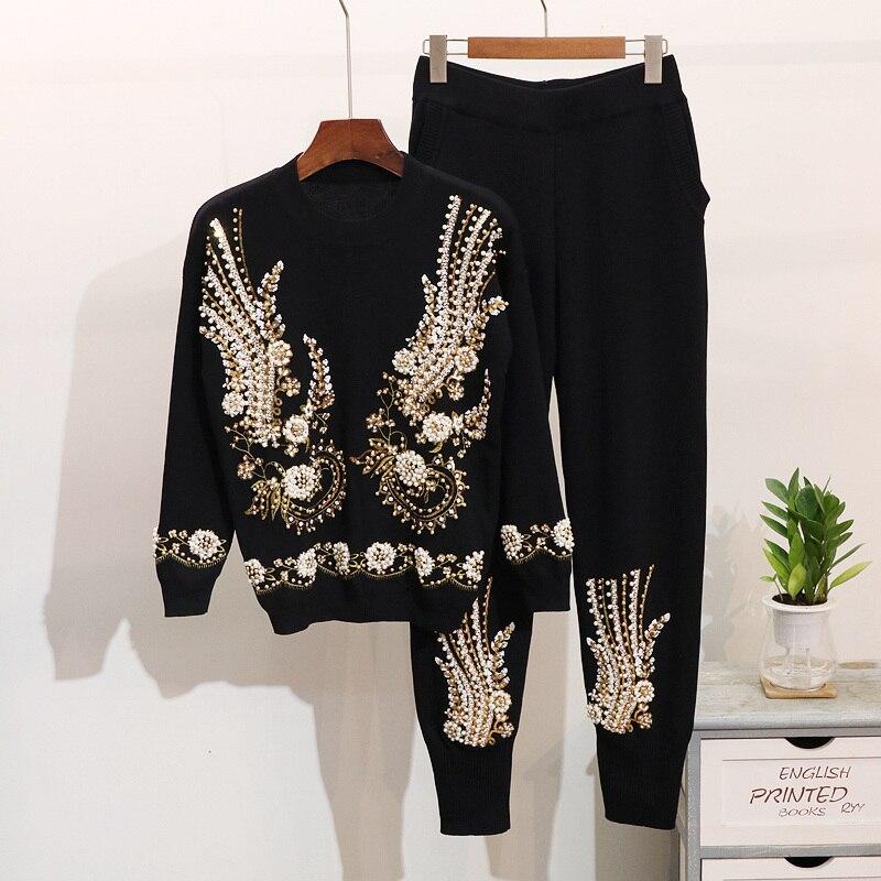 2019 jesień 2 sztuka zestaw kobiety frezowanie haft dzianiny zestawy sweter spodnie spodnie kombinezon zimowy damski zestaw dwuczęściowy dresy w Zestawy damskie od Odzież damska na  Grupa 1