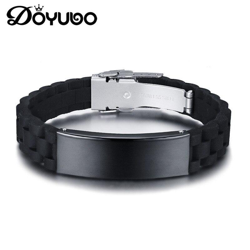 DOYUBO Fashion Men's Black Gun Plated Stainless Steel Bangles Silicon Bending Card Bracelets Engraved Logo&Names Jewelry DD067