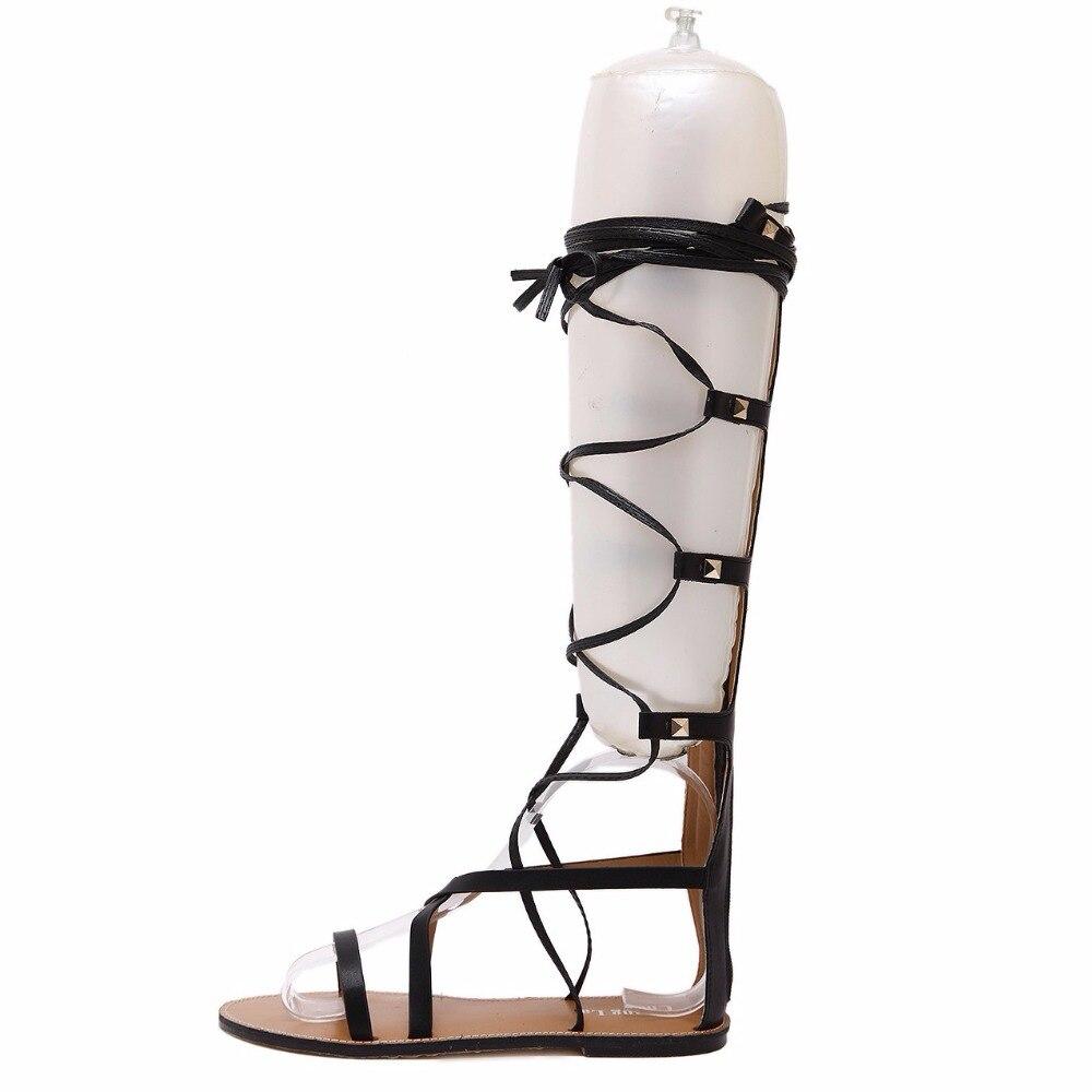 Mujer Planos Moda Ocasionales Negro Marrón Zapatos marrón Sandalias Negro Nueva Dijigirls Sexy Hueco Cruzada Verano Gladiador BYCq4
