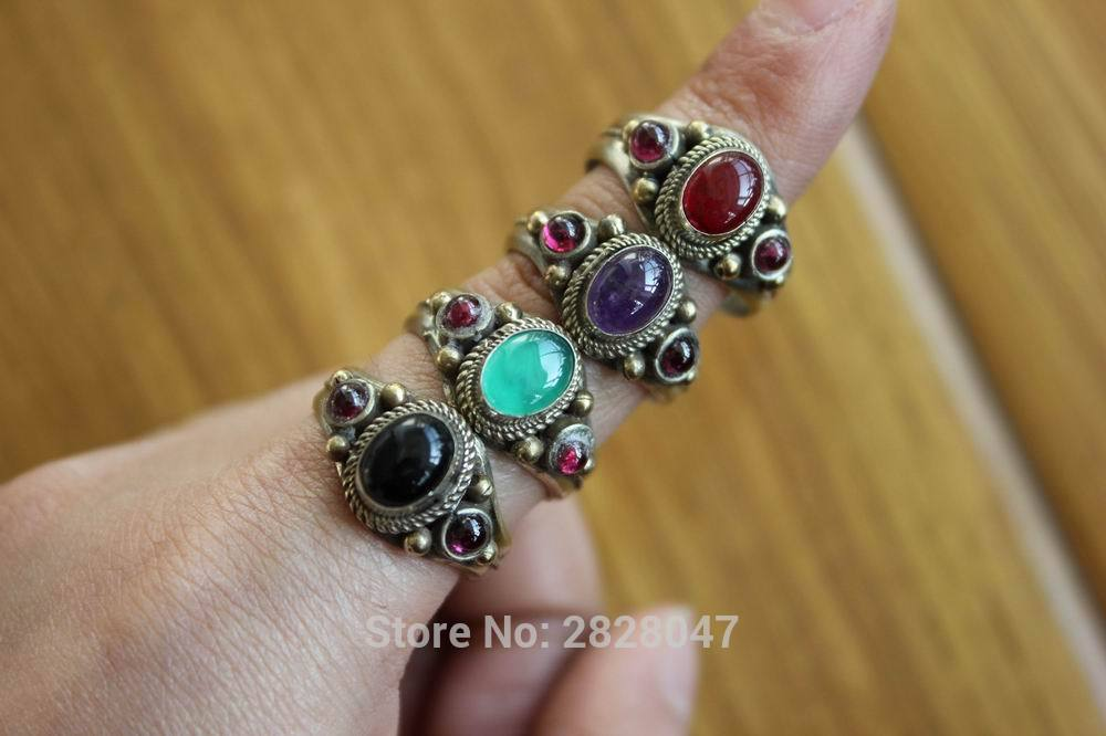 RG295 Tibetan 3 Color Copper Inlaid Colorful Beads Women Rings Handmade Nepal Onyx Stone Open Back Adjustable Rings