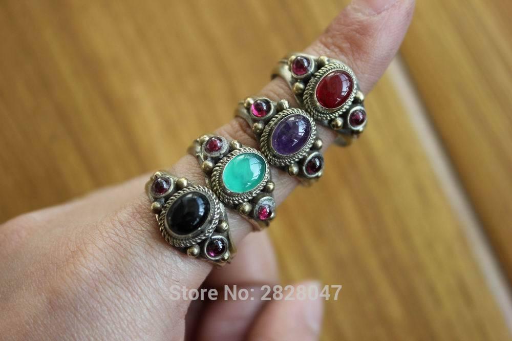 RG295 tibeti 3 színű rézbe berakott színes gyöngyök női gyűrűk, kézzel készített Nepál Onyx kő nyitott hátú, állítható gyűrűk