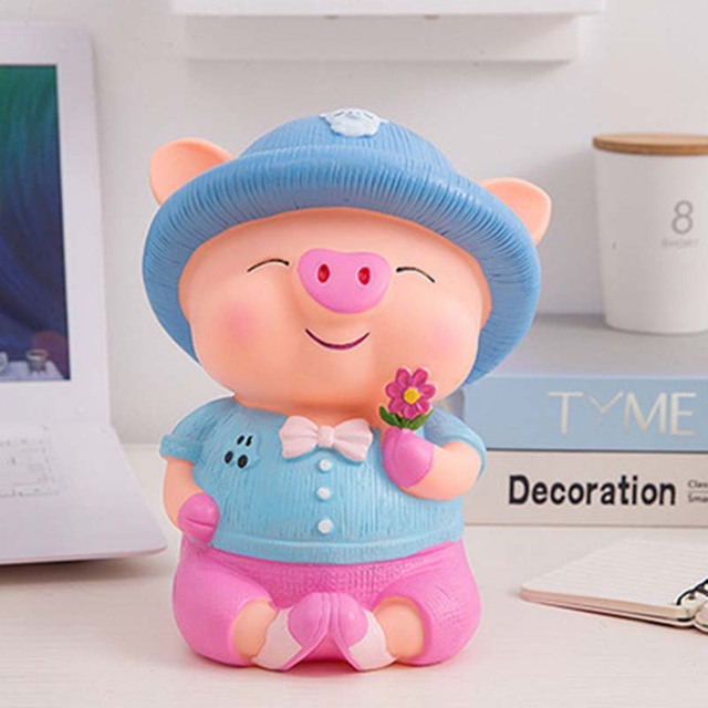 Tirelire cochon rose garçon