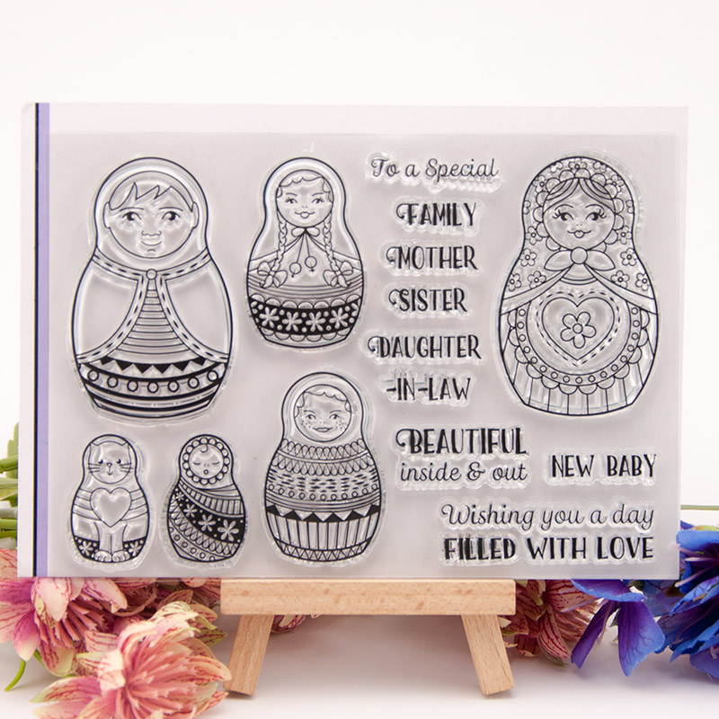US $1 52 28% OFF|2018 New Russian Doll Girls Words Transparent Clear  Silicone Stamp Seal DIY Scrapbooking Album Decorative Clear Stamp Sheets-in