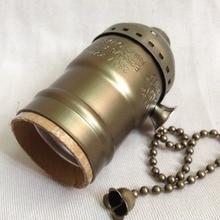 Soporte de lámpara con interruptor de 4/10 Uds latón/oro/plata/Negro Vintage E27 aluminio